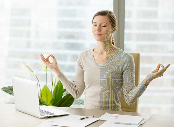 Female Cyborg Web Designer employed by www.marketingfriend.gr, meditating balance between human needs and machine needs