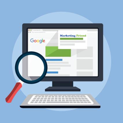 Vector of Google Search results symbolizing SEO προώ-θηση ιστοσελίδων by εταιρία σεο marketingfriend.gr