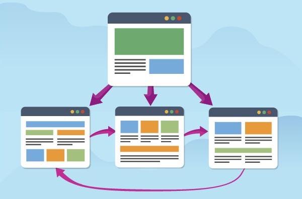 Vector δείχνει links μεταξύ σελίδων ενός ιστότοπου στο seo προώθηση ιστοσελίδας